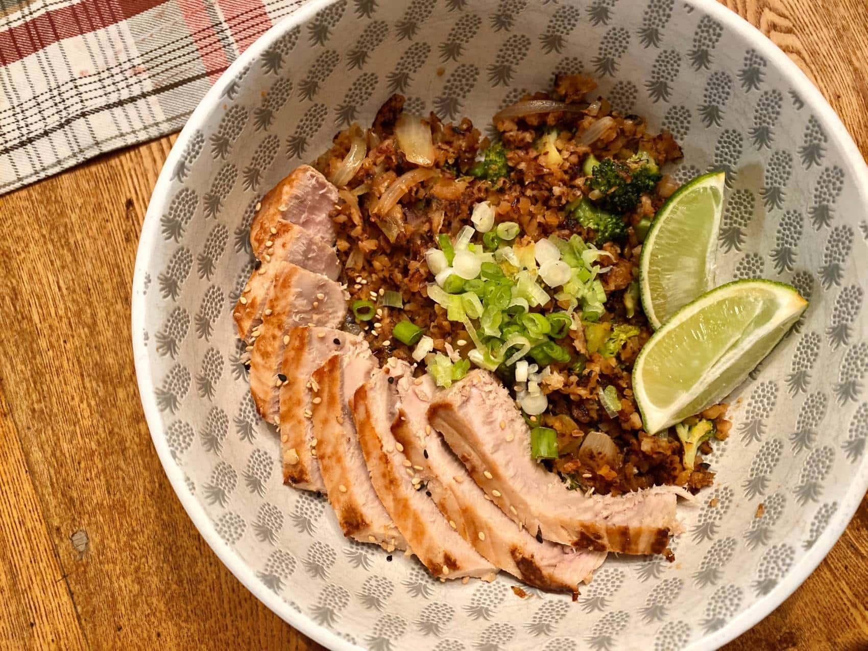 Pan-Seared Tuna With Cauliflower Fried Rice
